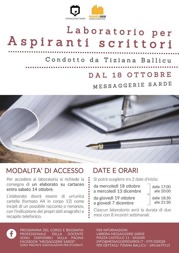 Laboratorio per aspiranti scrittori - Livello iniziale Condotto da Tiziana Ballicu locandina